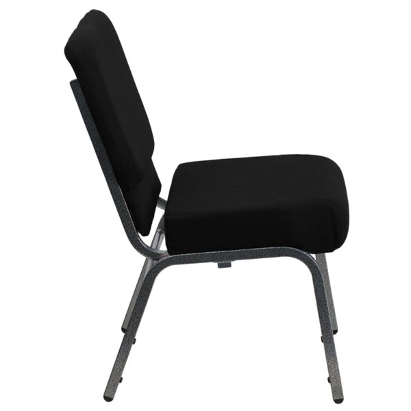 Lowest Price HERCULES Series 21''W Stacking Church Chair in Black Fabric - Silver Vein Frame