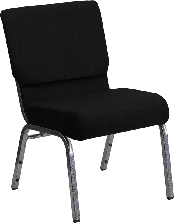 Wholesale HERCULES Series 21''W Stacking Church Chair in Black Fabric - Silver Vein Frame