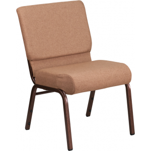 Wholesale HERCULES Series 21''W Stacking Church Chair in Caramel Fabric - Copper Vein Frame