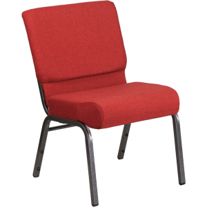 Wholesale HERCULES Series 21''W Stacking Church Chair in Crimson Fabric - Silver Vein Frame