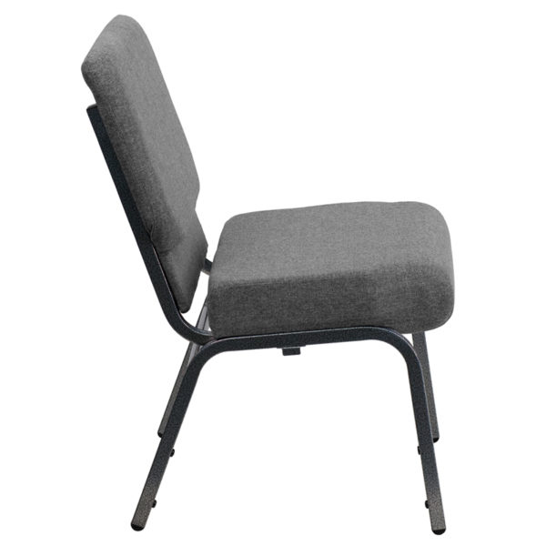 Lowest Price HERCULES Series 21''W Stacking Church Chair in Gray Fabric - Silver Vein Frame