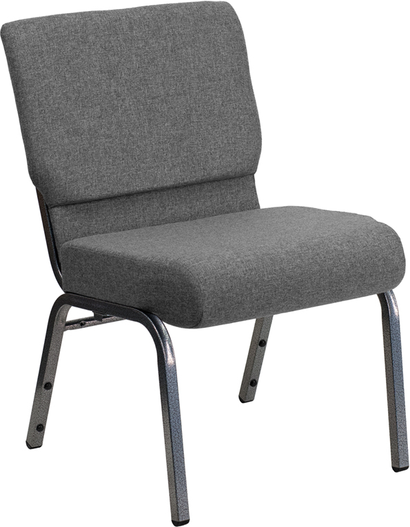 Wholesale HERCULES Series 21''W Stacking Church Chair in Gray Fabric - Silver Vein Frame