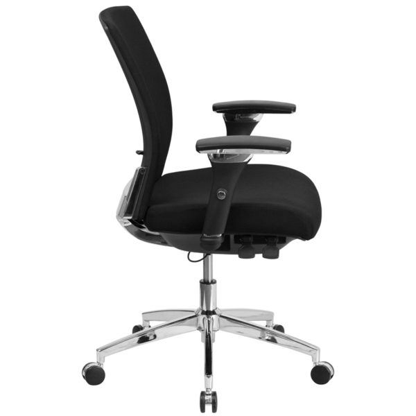Lowest Price HERCULES Series 24/7 Intensive Use 300 lb. Rated Black Fabric Multifunction Ergonomic Office Chair with Seat Slider