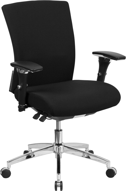 Wholesale HERCULES Series 24/7 Intensive Use 300 lb. Rated Black Fabric Multifunction Ergonomic Office Chair with Seat Slider