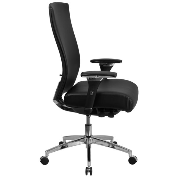 Lowest Price HERCULES Series 24/7 Intensive Use 300 lb. Rated Black Leather Multifunction Ergonomic Office Chair with Seat Slider