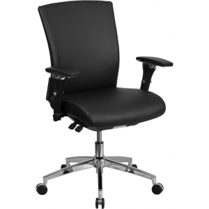 Wholesale HERCULES Series 24/7 Intensive Use 300 lb. Rated Black Leather Multifunction Ergonomic Office Chair with Seat Slider