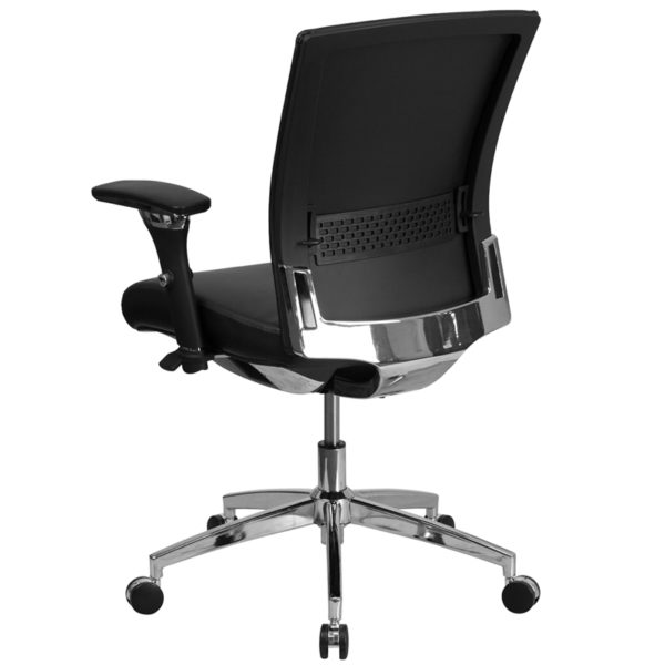 Contemporary 24/7 Multi-Shift Use Office Chair Black 24/7 Mid-Back-300LB