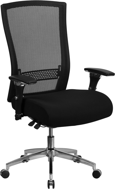 Wholesale HERCULES Series 24/7 Intensive Use 300 lb. Rated Black Mesh Multifunction Ergonomic Office Chair with Seat Slider