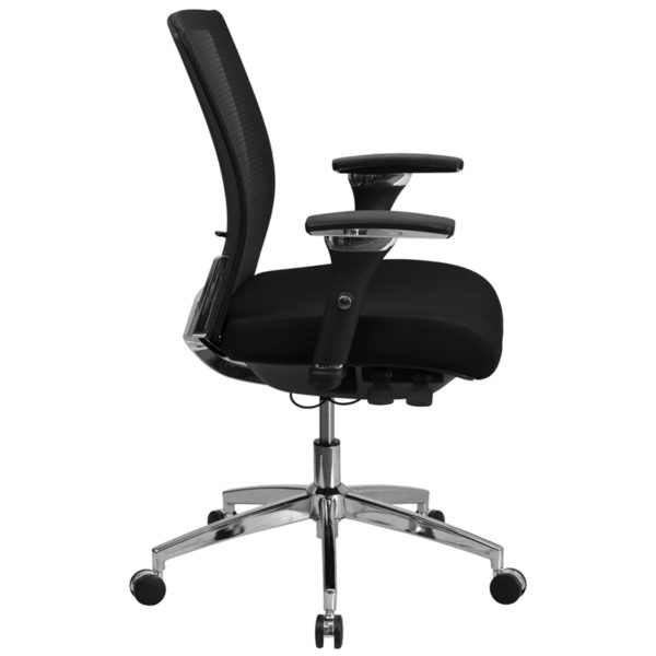 Lowest Price HERCULES Series 24/7 Intensive Use 300 lb. Rated Black Mesh Multifunction Ergonomic Office Chair with Seat Slider