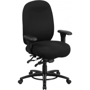Wholesale HERCULES Series 24/7 Intensive Use Big & Tall 350 lb. Rated Black Fabric Multifunction Ergonomic Office Chair - Foot Ring