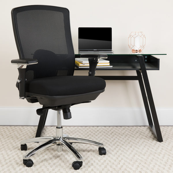 Lowest Price HERCULES Series 24/7 Intensive Use Big & Tall 350 lb. Rated Black Mesh Multifunction Swivel Ergonomic Office Chair