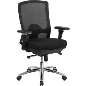 Wholesale HERCULES Series 24/7 Intensive Use Big & Tall 350 lb. Rated Black Mesh Multifunction Swivel Ergonomic Office Chair