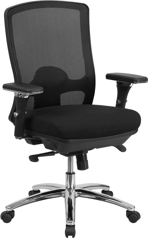 Wholesale HERCULES Series 24/7 Intensive Use Big & Tall 350 lb. Rated Black Mesh Multifunction Swivel Ergonomic Office Chair