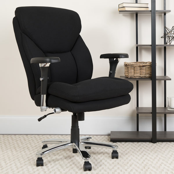 Lowest Price HERCULES Series 24/7 Intensive Use Big & Tall 400 lb. Rated Black Fabric Executive Ergonomic Office Chair with Lumbar Knob