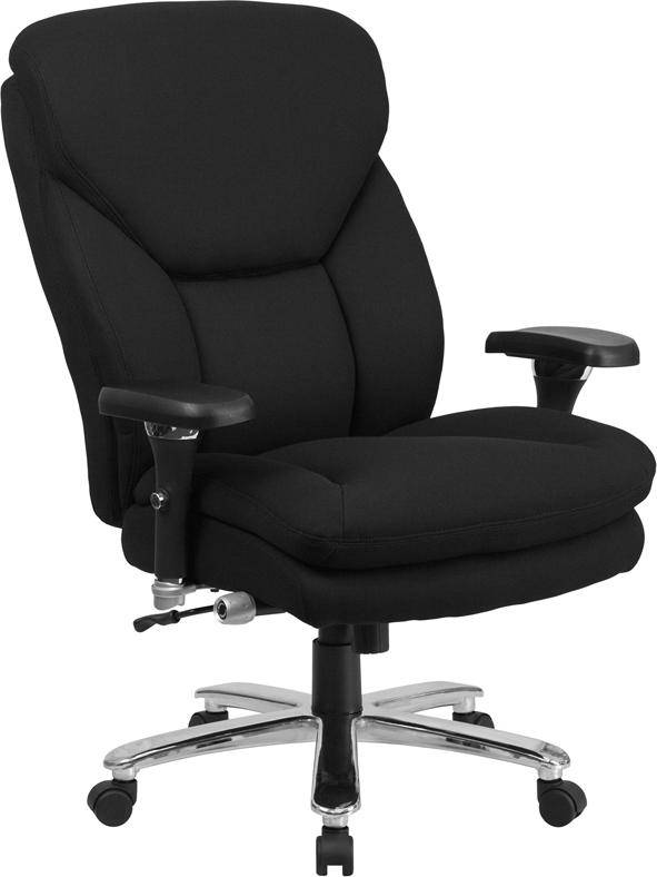 Wholesale HERCULES Series 24/7 Intensive Use Big & Tall 400 lb. Rated Black Fabric Executive Ergonomic Office Chair with Lumbar Knob