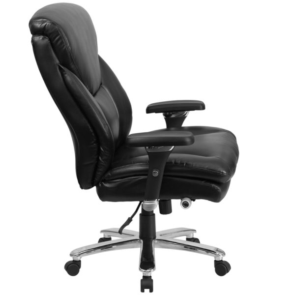Lowest Price HERCULES Series 24/7 Intensive Use Big & Tall 400 lb. Rated Black Leather Ergonomic Office Chair with Lumbar Knob