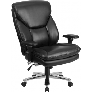 Wholesale HERCULES Series 24/7 Intensive Use Big & Tall 400 lb. Rated Black Leather Ergonomic Office Chair with Lumbar Knob