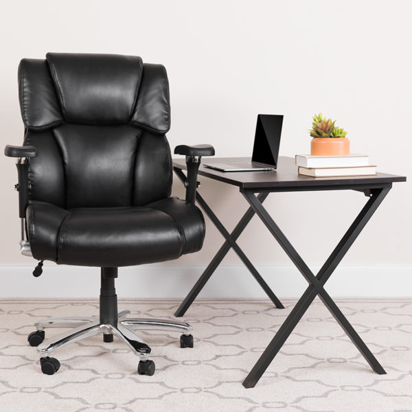 Lowest Price HERCULES Series 24/7 Intensive Use Big & Tall 400 lb. Rated Black Leather Executive Lumbar Ergonomic Office Chair