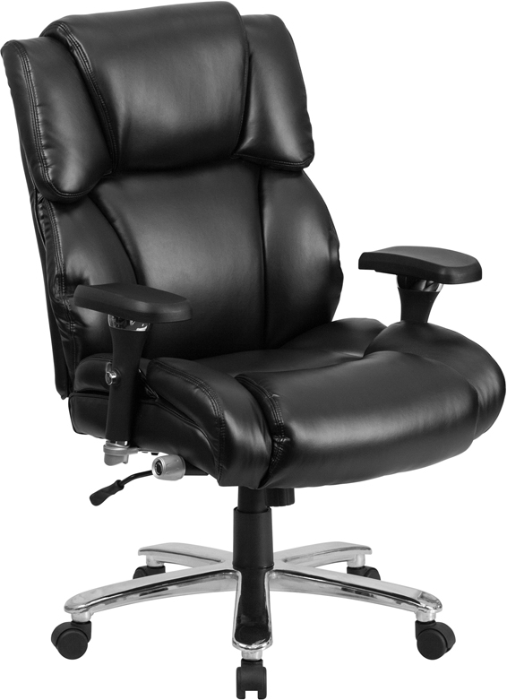 Wholesale HERCULES Series 24/7 Intensive Use Big & Tall 400 lb. Rated Black Leather Executive Lumbar Ergonomic Office Chair