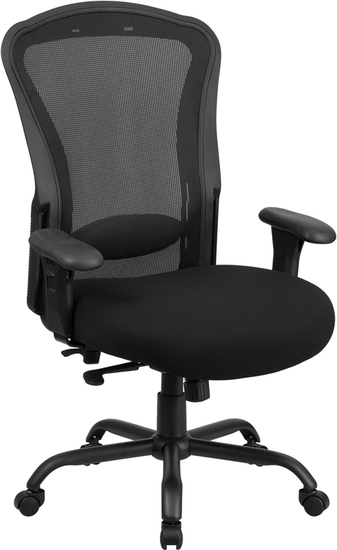 Wholesale HERCULES Series 24/7 Intensive Use Big & Tall 400 lb. Rated Black Mesh Multifunction Synchro-Tilt Ergonomic Office Chair