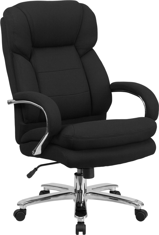 Wholesale HERCULES Series 24/7 Intensive Use Big & Tall 500 lb. Rated Black Fabric Executive Ergonomic Office Chair with Loop Arms