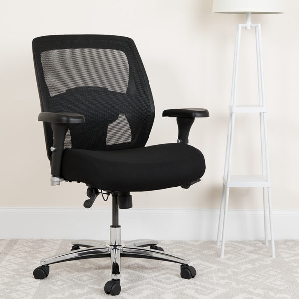 Lowest Price HERCULES Series 24/7 Intensive Use Big & Tall 500 lb. Rated Black Mesh Executive Ergonomic Office Chair with Ratchet Back