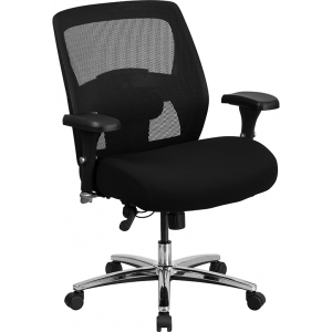 Wholesale HERCULES Series 24/7 Intensive Use Big & Tall 500 lb. Rated Black Mesh Executive Ergonomic Office Chair with Ratchet Back