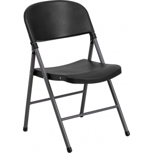 Wholesale HERCULES Series 330 lb. Capacity Black Plastic Folding Chair with Charcoal Frame