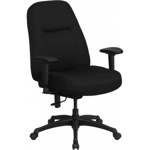 Wholesale HERCULES Series 400 lb. Rated High Back Big & Tall Black Fabric Executive Ergonomic Office Chair with Adjustable Arms