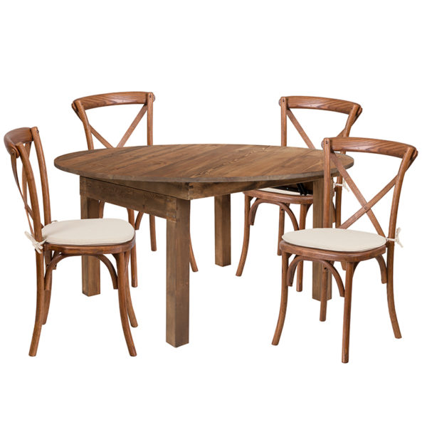 "Wholesale HERCULES Series 60"" Round Solid Pine Folding Farm Dining Table Set with 4 Cross Back Chairs and Cushions"