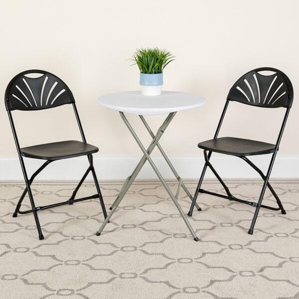 Lowest Price HERCULES Series 650 lb. Capacity Black Plastic Fan Back Folding Chair