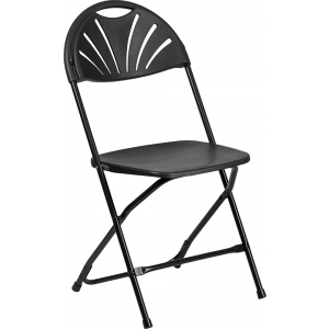 Wholesale HERCULES Series 650 lb. Capacity Black Plastic Fan Back Folding Chair