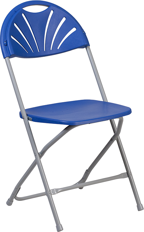 Wholesale HERCULES Series 650 lb. Capacity Blue Plastic Fan Back Folding Chair