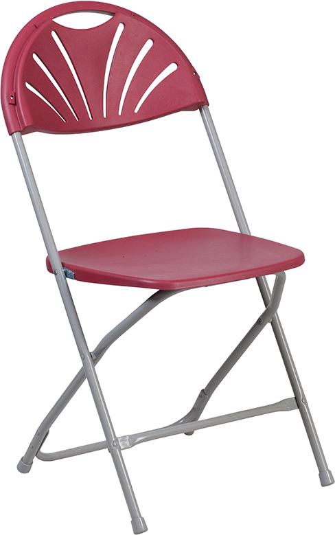 Wholesale HERCULES Series 650 lb. Capacity Burgundy Plastic Fan Back Folding Chair