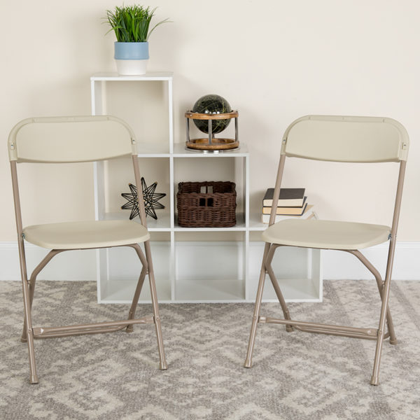 Lowest Price HERCULES Series 650 lb. Capacity Premium Beige Plastic Folding Chair