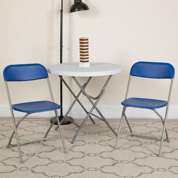 Lowest Price HERCULES Series 650 lb. Capacity Premium Blue Plastic Folding Chair