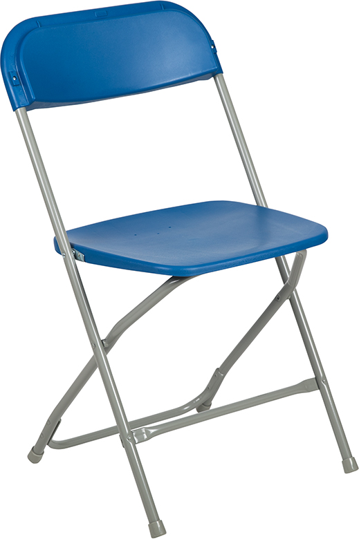 Wholesale HERCULES Series 650 lb. Capacity Premium Blue Plastic Folding Chair