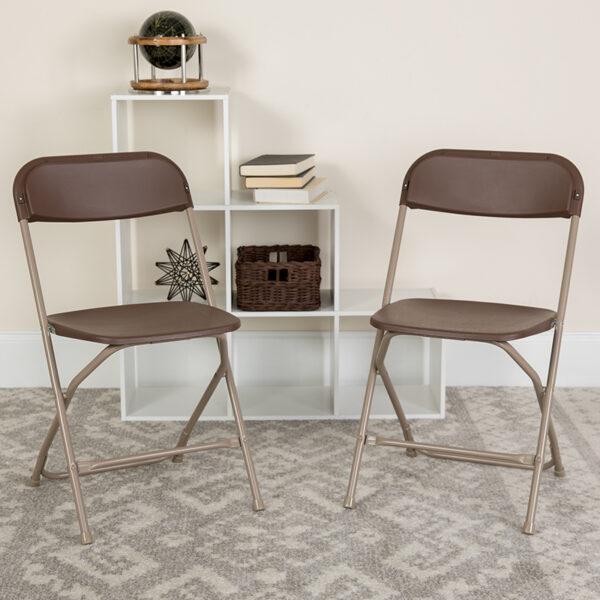 Lowest Price HERCULES Series 650 lb. Capacity Premium Brown Plastic Folding Chair