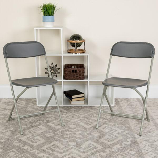 Lowest Price HERCULES Series 650 lb. Capacity Premium Grey Plastic Folding Chair