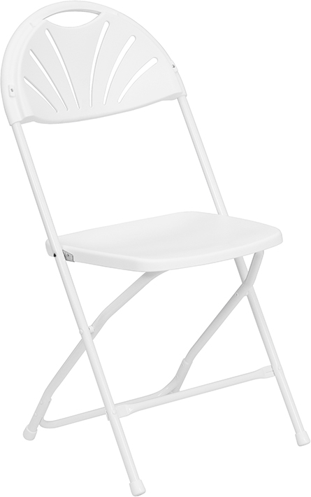 Wholesale HERCULES Series 650 lb. Capacity White Plastic Fan Back Folding Chair