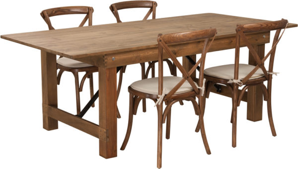Wholesale HERCULES Series 7' x 40'' Antique Rustic Folding Farm Table Set with 4 Cross Back Chairs and Cushions