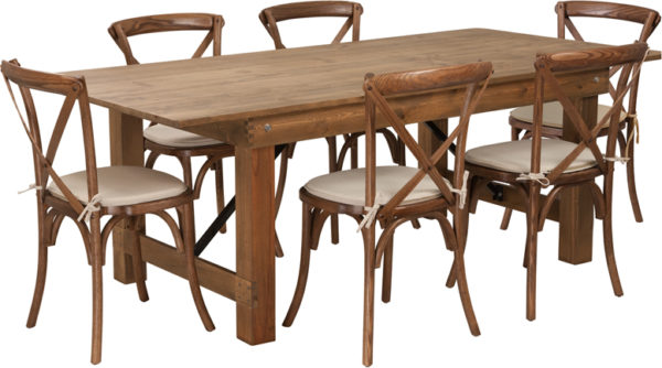 Wholesale HERCULES Series 7' x 40'' Antique Rustic Folding Farm Table Set with 6 Cross Back Chairs and Cushions