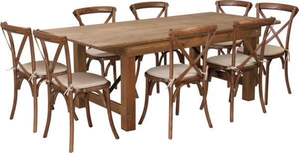 Wholesale HERCULES Series 7' x 40'' Antique Rustic Folding Farm Table Set with 8 Cross Back Chairs and Cushions