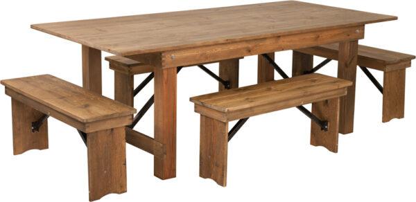 Wholesale HERCULES Series 7' x 40'' Antique Rustic Folding Farm Table and Four Bench Set
