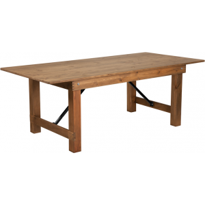 "Wholesale HERCULES Series 7' x 40"" Rectangular Antique Rustic Solid Pine Folding Farm Table"