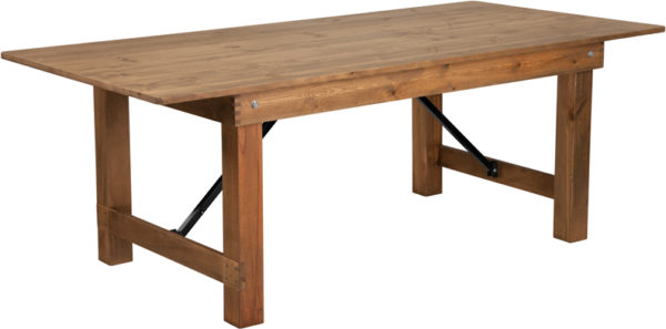 "Wholesale HERCULES Series 7' x 40"" Rectangular Antique Rustic Solid Pine Folding Farm Table"