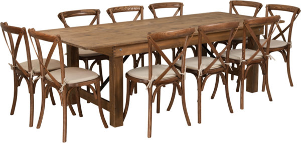 Wholesale HERCULES Series 8' x 40'' Antique Rustic Folding Farm Table Set with 10 Cross Back Chairs and Cushions