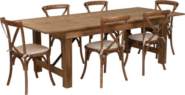 Wholesale HERCULES Series 8' x 40'' Antique Rustic Folding Farm Table Set with 6 Cross Back Chairs and Cushions