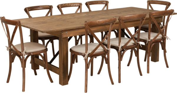 Wholesale HERCULES Series 8' x 40'' Antique Rustic Folding Farm Table Set with 8 Cross Back Chairs and Cushions