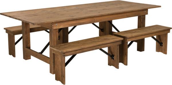 "Wholesale HERCULES Series 8' x 40'' Antique Rustic Folding Farm Table and Four 40.25""L Bench Set"
